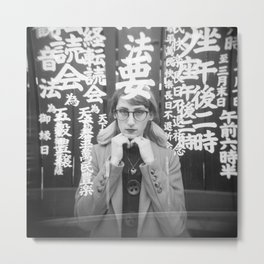Self Portrait in Japan - Holga Black and White Double Exposure Metal Print