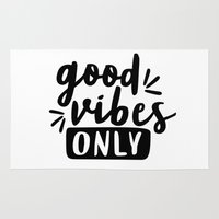 good vibes only Area & Throw Rugs featuring Good Vibes Only by Wandering Type
