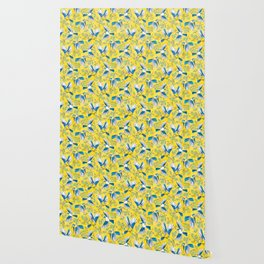 Flying Birds and Oak Leaves on Yellow Wallpaper
