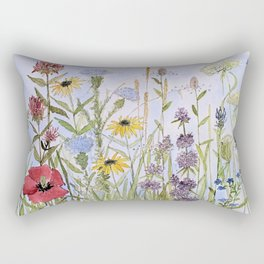 Wildflower Garden Watercolor Flower Illustration Rectangular Pillow