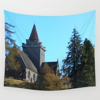 scotland Wall Tapestries featuring Crathie Church, Balmoral, Scotland by Phil Smyth