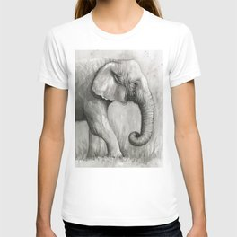 Elephant Black and White Watercolor T-shirt