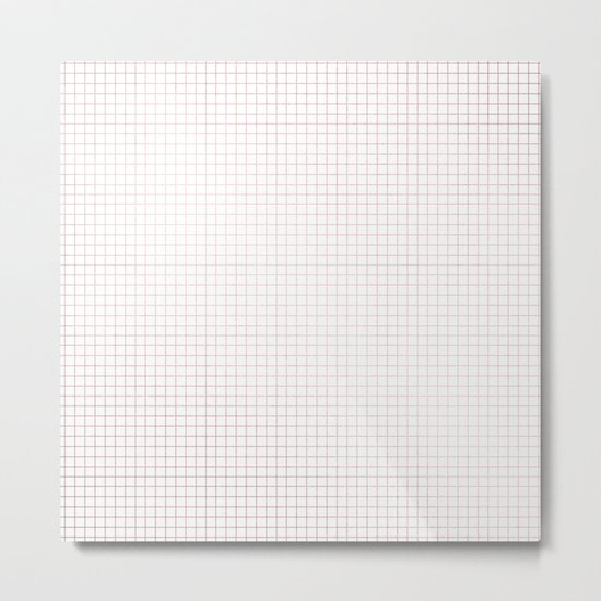 Simply Grid Lines in Rose Gold Sunset Metal Print