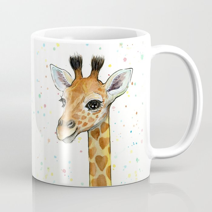 Giraffe Baby Animal with Hearts Watercolor Cute Whimsical Animals ...