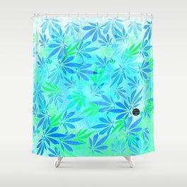 Blue Mint Cannabis Swirl Shower Curtain