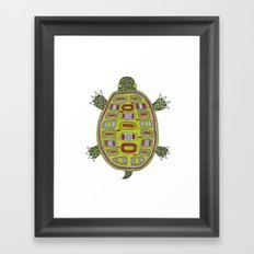 Tiled turtle Framed Art Print