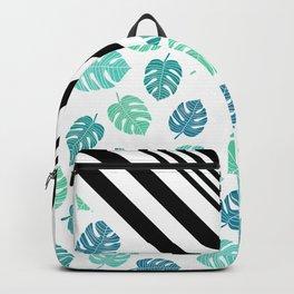 Modern tropical leaf monstera turquoise mint black white chevron Backpack
