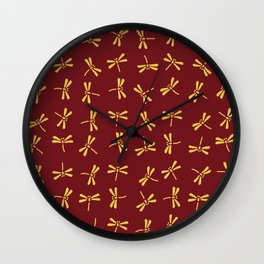 Japanese Dragonflies - Crimson and Gold Wall Clock