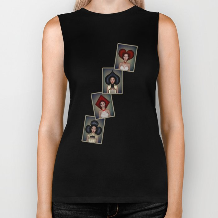 Playing cards queens quartett Biker Tank