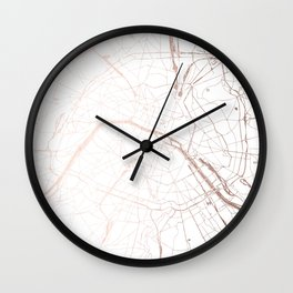 Paris France Minimal Street Map - Rose Gold Glitter Wall Clock