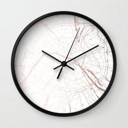 Paris France Minimal Street Map - Rose Gold Glitter Wall Clock