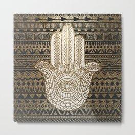 Native Pattern Golden Hamsa Hand Metal Print