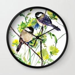 chickadees and Spring Blossom Wall Clock