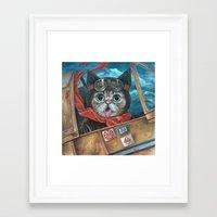 lil bub Framed Art Prints featuring Lil Bub Takes Flight by Brianna Angelakis