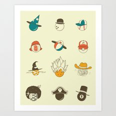 Weird balls with weird hats Art Print