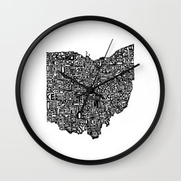 Typographic Ohio Wall Clock