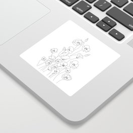 Poppy Flowers Line Art Sticker