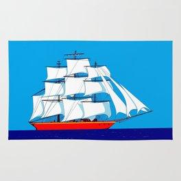 Clipper Ship in Sunny Sky Rug