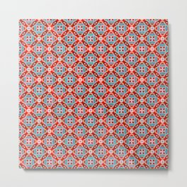 Retro Kitchen Check Cloth , Vintage Red & Blue Chequerboard Daisy flower Pattern Metal Print