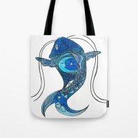tatoo Tote Bags featuring Tatoo Koi Fish by PepperDsArt