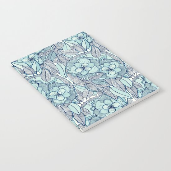 Teal Magnolias - a hand drawn pattern Notebook