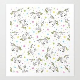Unicorns and Stars - White and Rainbow scatter pattern Art Print
