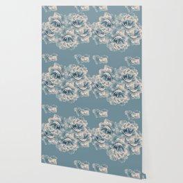 Blush Blue Peony Flower Bouquet #1 #floral #decor #art #society6 Wallpaper