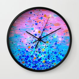 WHAT GOES UP, REVISITED - Bold Royal Blue Pink Bubbles Whimsical Underwater Ocean Abstract Painting Wall Clock