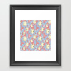 Cameo & Trailing Hair // Blue & Apricot pastels. Framed Art Print