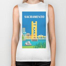 Sacramento, California - Skyline Illustration by Loose Petals Biker Tank