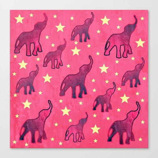 Elephants Stars Pattern Canvas Print