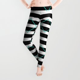 Black and White Stripes And Cyan Blue Squares Pattern Leggings