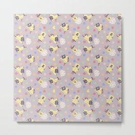 Raincoat Cat Pattern - Purple Metal Print