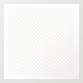 Mini Millennial Pink Pastel Love Hearts on White Art Print