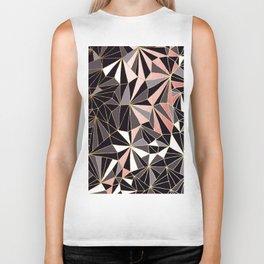 Stylish Art Deco Geometric Pattern - Black, Coral, Gold #abstract #pattern Biker Tank