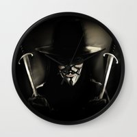 vendetta Wall Clocks featuring V for Vendetta (e5) by Ezgi Kaya