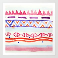 Watercolour Aztec Art Print