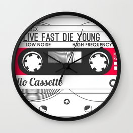 Audio Cassette SIDE A ▲LIVEFASTDIEYOUNG▲ RED Wall Clock