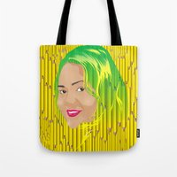 jamaica Tote Bags featuring Jamaica Girl by Theophilus Marks