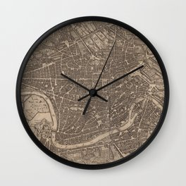 Vintage Map of Rome Italy (1730) Wall Clock