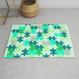 Green Jigsaw Puzzle Rug