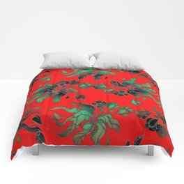 Vintage floral seamless pattern with hand drawn flowering crocus on the red background Comforters