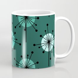 Atomic Era Sputnik Starburst Flowers Teal Coffee Mug