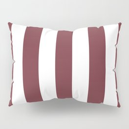 Puce red purple - solid color - white vertical lines pattern Pillow Sham