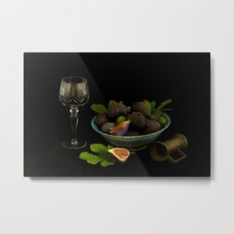Still Life with Figs and Wine Metal Print