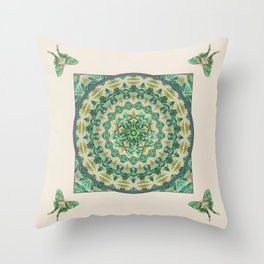 Luna Moth Meditation Mandala Throw Pillow