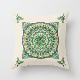 Luna Moth Meditation Mandala Throw Pillow