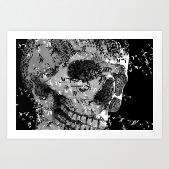 skull birds 01 Art Print
