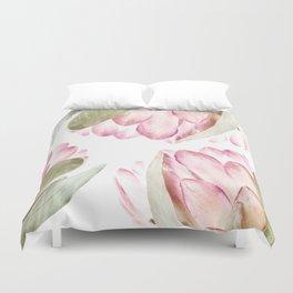 Pink Protea Flower Duvet Cover