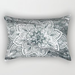 Indie Floral Mandla on White Marble Rectangular Pillow